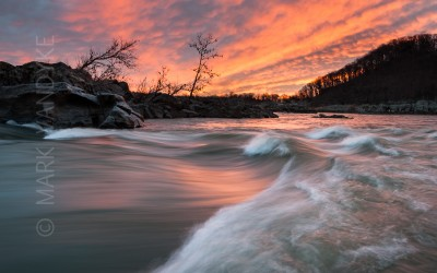 Pushing Forward:  Sunrise Over the Potomac River Mather Gorge at Great Falls National Park