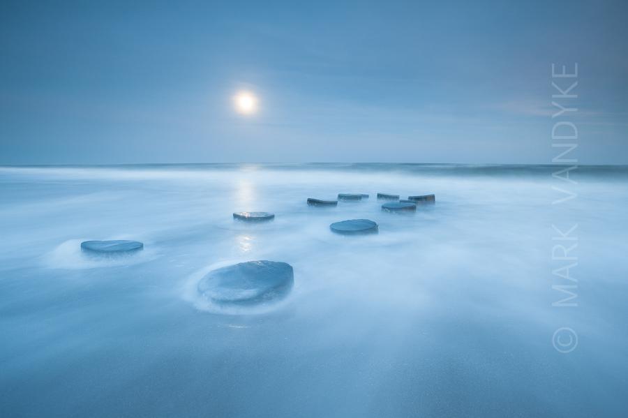 Imperfect:  Folly Beach Blue Hour Moonrise