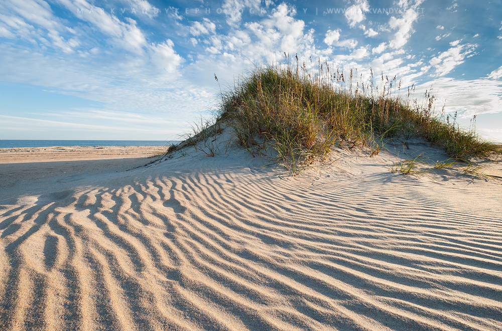 Wind fashions patterns into the sand along the beaches at Cape Hatteras National Seashore in the Outer Banks of North Carolina.
