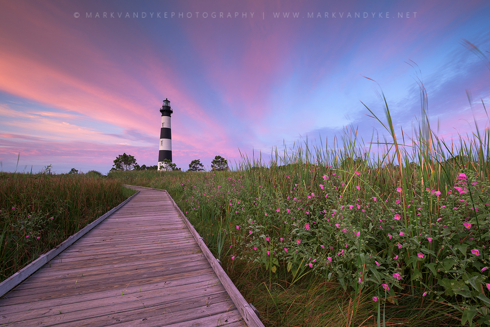 Pink Skies & Pink Flowers at Bodie Island Lighthouse